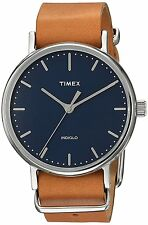 Timex TW2P98300 Weekender Indiglo Fairfield 37mm Brown Leather Band Watch