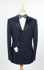 NWT BRUNELLO CUCINELLI Navy Blue Wool Double Breasted Tuxedo Suit 50/40 R $4875