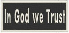 In God We Trust. Biker Embroidery Iron-On Patch  White Merrow Border