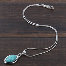 New Tibetan silver shuttle Blue Turquoise Pendant Bib Long chain Necklace