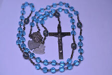 VTG FACETED BLUE GLASS ROSARY W/ MEDAL TEXT: JOYFUL GLORIOUS SORROWFUL MYSTERIES