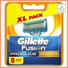 GILLETTE FUSION PROGLIDE POWER  8 RAZOR BLADES PACK 100% Genuine FAST FREE POST