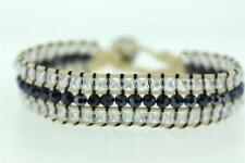 Friendship 3-Row Clear & Hematite Crystal & Cream Cotton Bracelet Button Clasp