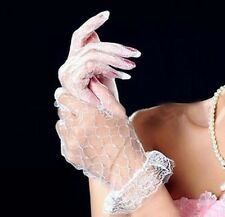 Short Wedding Party Prom Stretch White Lace Gloves with Ruffle Cuff