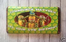 PERSONALISED TMNT TURTLES CHOCOLATE BAR WRAPPER fits Galaxy 114g Birthday Gift