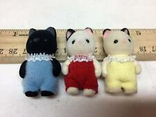 Calico Critters TUXEDO CAT TRIPLETS lot of 3 Baby Babies KITTENS Red Blue Yellow