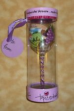 NEW top shelf wine glass grapes purple premier cru hand painted