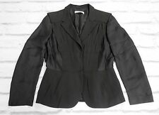 Dark Texture: Prada SS009 Black Crepe & Crinkle Silk Tailored Jacket IT44/UK12