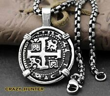 Piece of Eight Coin Pendant Necklace Pirate Spanish Jewelry + High Quality Chain