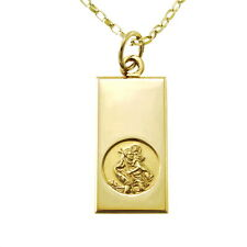 "9CT GOLD ST SAINT CHRISTOPHER PENDANT CHAIN NECKLACE WITH 18"" CHAIN"