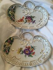 ANTIQUE PAIR DRESDEN GERMANY RAISED FLOWER HANDPAINTED DISH PLATE MEISSEN STYLE