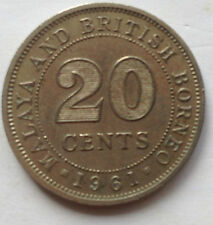 Malaya & British Borneo 20 cents 1961 coin
