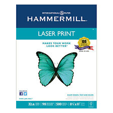 "Hammermill Laser Print Paper 32 lb 98 GE 8-1/2""x11"" 500/RM WE 104646"