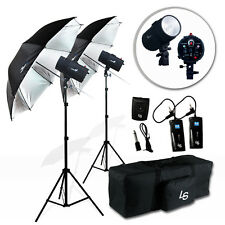 Photography Studio Photo Flash Kit 2 x 400W Strobe Light Umbrella Lighting kit