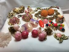 Vintage Jewelry for Repair/Parts, Steampunk, Arts/Crafts, Pink Rhinestone Lot #4