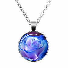 Vintage Style Glass Pendant Blue & Purple Exclusive Rose Flower Necklace N470