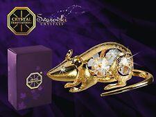G 3813 Ratte Gold Rat Swarovski Steine Kristall 24 Karat Crystal 8,5 cm