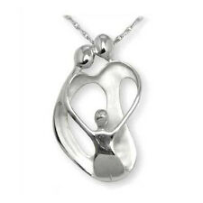 LARGE Loving Family Pendant, 2 Parents & 1 Child Silver moms jewelry necklace