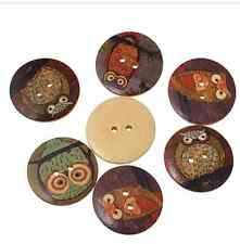 5 Wooden Flatback Buttons Owls 2 Hole 30mm Sewing Craft UK SELLER Mixed Designs