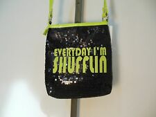 Sequin Black & Neon Green Crossbody purse handbag EVERYDAY IM SHUFFLIN adj strap