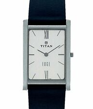 TITAN EDGE - 1043SL01 MENS FORMAL TRENDY LEATHER BELT WHITE DIAL WATCH BEST GIFT