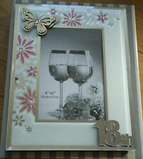 Birthday 3D Crystal Butterfly Glitter Flowers Mirror Glass Photo Frame-18th Gift