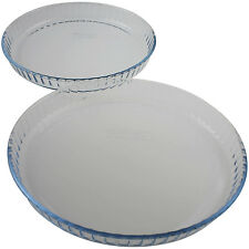 PYREX 2PC BAKE & ENJOY ROUND BAKING BAKEWARE OVENWARE PIE PAN FLAN MOLDER SET