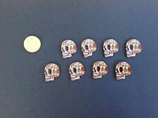 Decorative Skull Buttons Day Of The Dead Goth Emo Pack Of 8