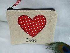 Handmade Personalised Heart Coin Purse choice of wording Red & Linen Valentines