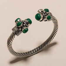 925 sterling silver plated gemstones bracelet/cuff jewellery