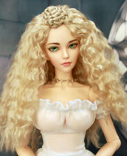 "1/3 bjd 8-9"" doll head blonde curly long wig Luts Soom Iplehouse Kaye Wiggs"