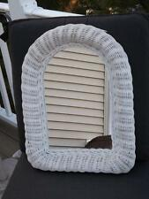 Vintage Shabby Chic White Wicker Arched Wall Mirror
