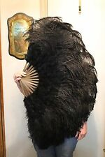 Luxury Black Ostrich & Marabou Feather Fan 45 inch