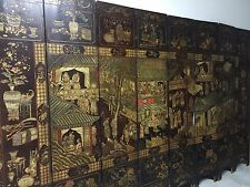 18TH CENTURY CHINESE ANTIQUE EIGHT PANEL DOUBLE SIDED BLACK COROMANDEL SCREEN