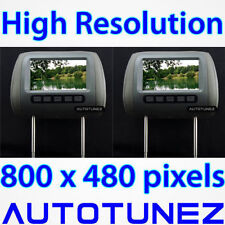 "2 x 7"" HD Pair Of Car Headrest Pillow Rear Monitor Display Screen For DVD Player"