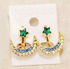 Korean Fashion Women Golden Moon Star Crystal 2 In 1 Stud Earrings Ear Jacket