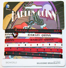 "NEW DC Comics Batman Joker Girl Harley Quinn Rubber Bracelet 6 PACK 1/4"" Wide"