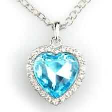 ChIC MOIVE TITANIC PRETTY HEART OF THE OCEAN BLUE CRYSTAL PENDANT NECKLACE