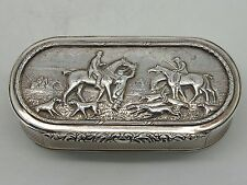 Antique Silver snuff box HUNTING SCENE London 1950 – Asprey & Co Ltd SUPERB