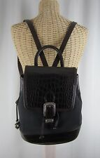 Vintage Brighton Monica Brown Leather Backpack Classic Fall Bag Buckles Black
