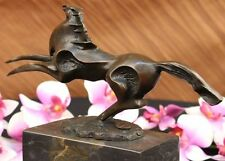 Abstract Modern Art Horse Bronze Sculpture Marble Base Figurine Home Decor SALE