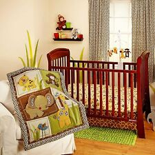NURSERY 3pc JUNGLE Animal BEDDING SET Baby Crib Monkey Bear Giraffe Earthtones