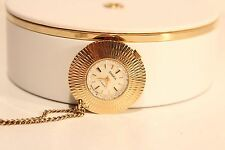 "VINTAGE USSR RUSSIAN GOLD PLATED MECHANICAL LADIES WATCH PENDANT""CHAIKA"""
