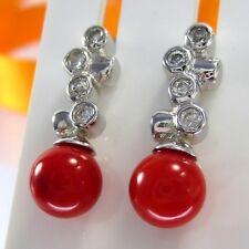 A639 Echte Korallen Perlen Ohrstecker 925 Sterling Silber Schmuck rhodiniert