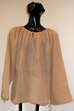 NWT GEETA Beige Cotton Embroidery Beads Peasant Top Blouse Tunic One size