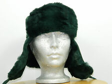 GREEN SHEARED RACCOON RUSSIAN CHAPKA TRAPPER HAT SUEDE TOP Sz. 23'' M n284