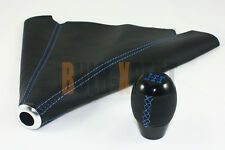M10 X 1.5 BLK 5 SPEED SHIFTER KNOB BLUE STITCHING + LEATHER SHIFT BOOT FOR HONDA