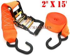 "2"" x 15"" Ratchet Tie Down/Hook 2,500 Ibs 2"" wide nylon webbing strap"