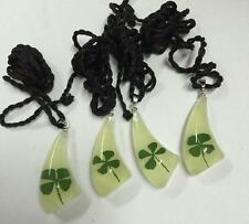 12 PCS Natural real Four Leaf Clover necklace glow in the dark charm pendant NG