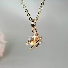 N4 18K Gold Plated Coffee Tea Cup Pendant Necklace with Crystals -  Gift boxed